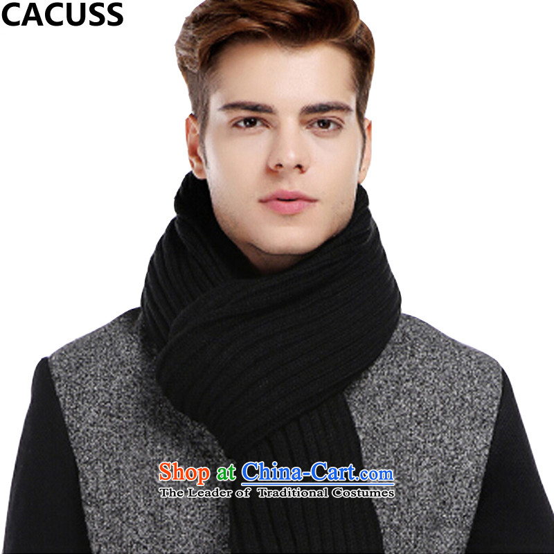 Extra-long warm CACUSS ultra-wide scarf W0029 winter black _35_210cm_ men and women