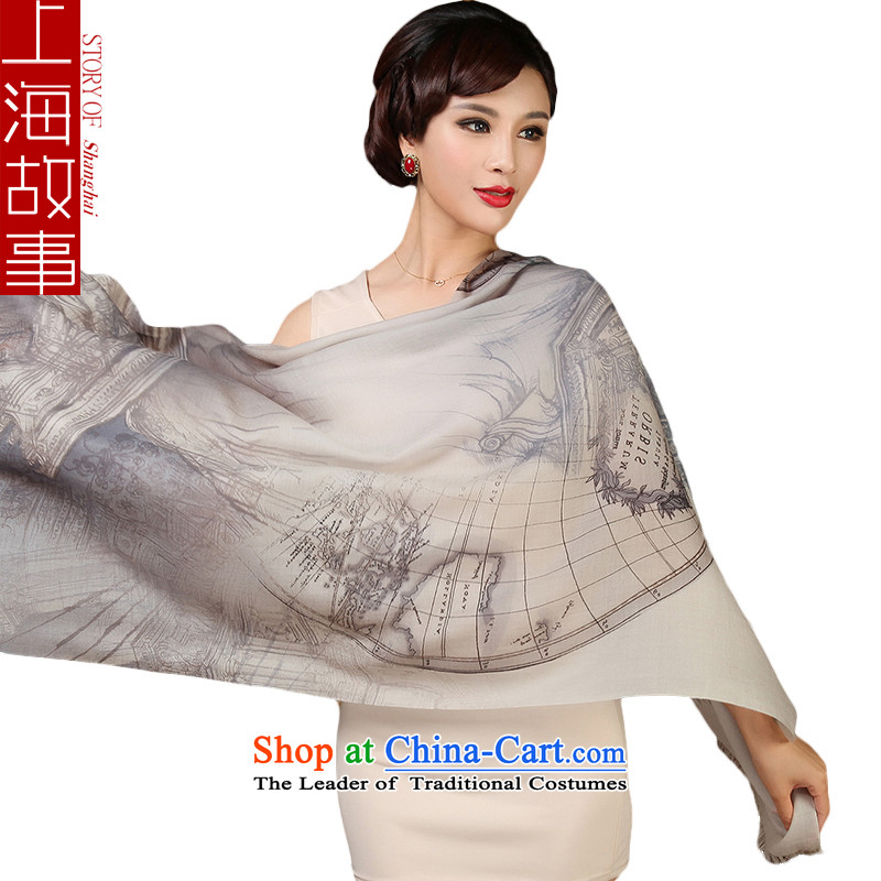 Shanghai Story Ms. wooler scarf autumn and winter twill stamp Fancy Scarf Gray Map