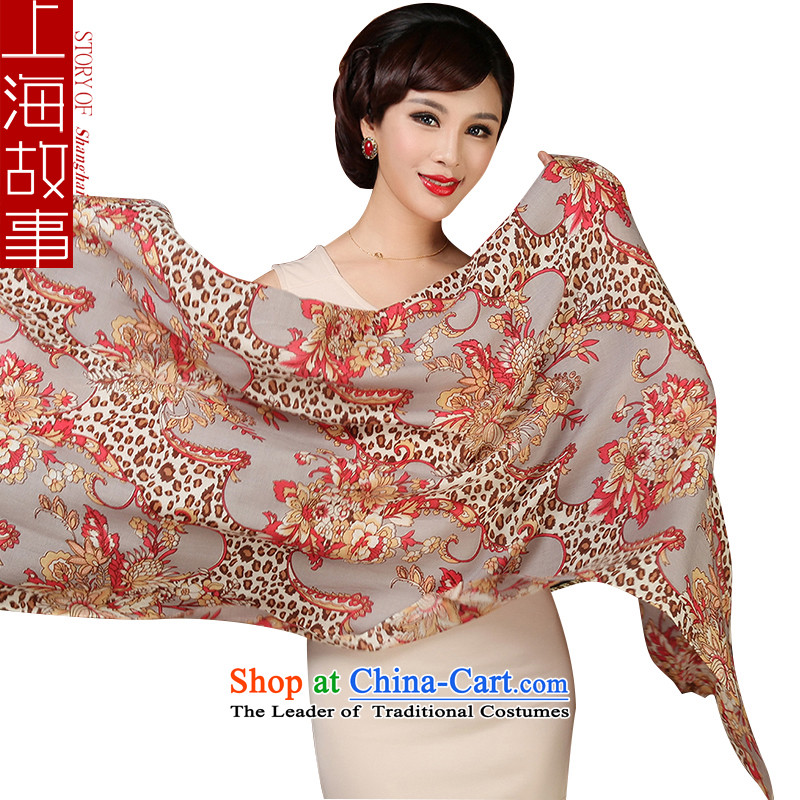 Shanghai Story Ms. wooler scarf autumn and winter warm twill stamp shawl Leopard Coffee
