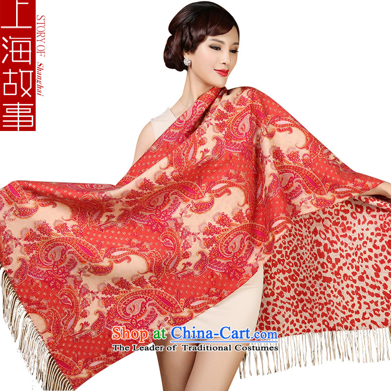 Shanghai Story autumn and winter Ms. pashmina shawl, double-sided printing warm pashmina contemptuous of cashews red