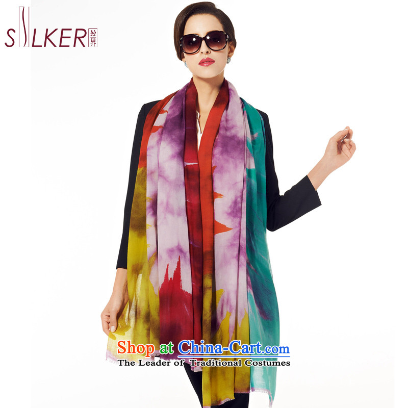 Sigi's 200 population water-soluble wool hand-painted silk scarf oversize warm winter women cape Town of dumping a smile Purple