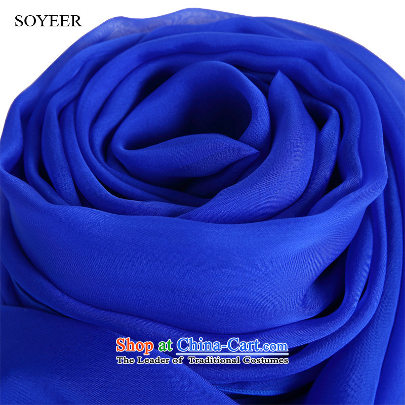 In spring and autumn SOYEER silk scarfs Noble blue silk scarves female sauna long solid color silk scarf sunscreen shawl blue recommended size 200*130cm