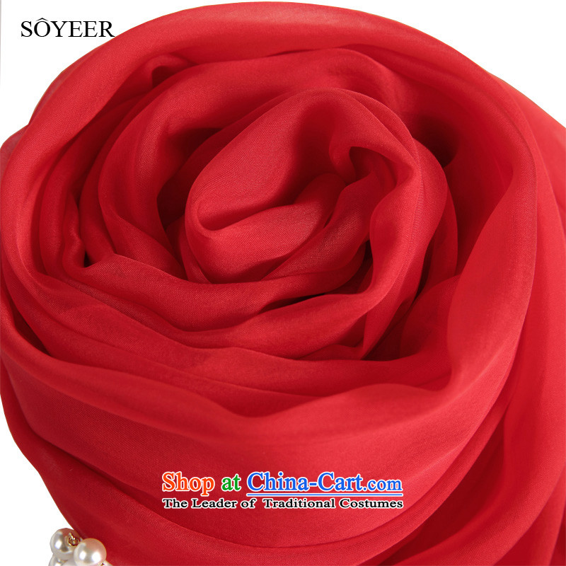 The Korean version of the wild SOYEER large red silk scarfs herbs extract long silk scarf, Solid Color silk scarf sunscreen shawl 250*130cm red