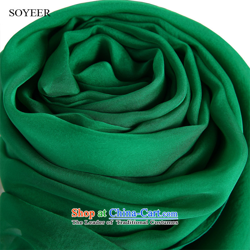The spring and autumn Girl Exclusive SOYEER silk scarfs gemstone green herbs extract silk scarf of solid color silk scarf silk shawls gemstone 250*130cm green