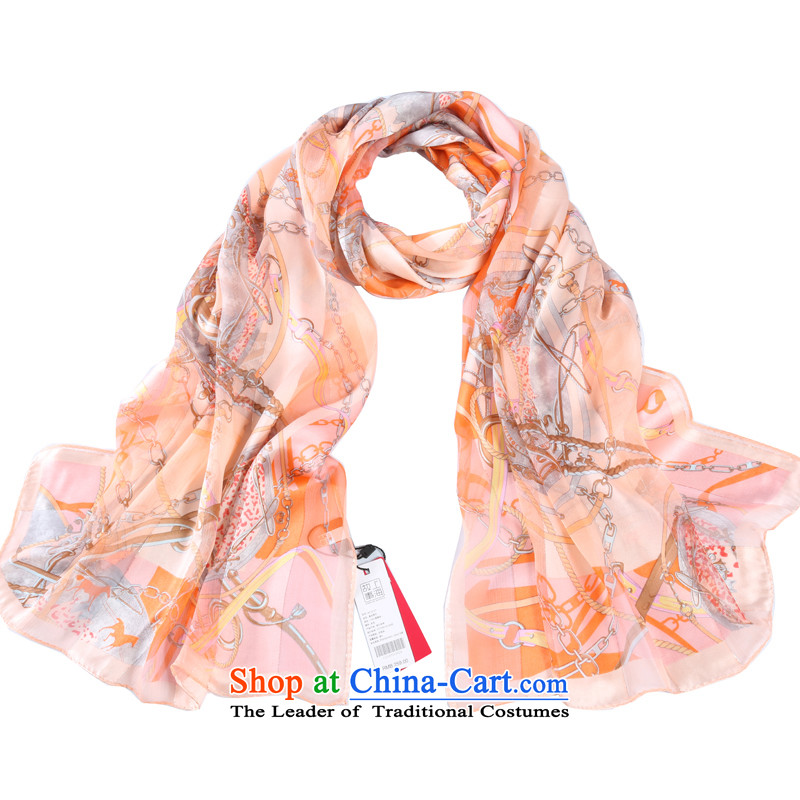 Shanghai Story 2014 New Striped satin rose herbs extract silk scarves female scarf sunscreen shawl Roman Holiday orange