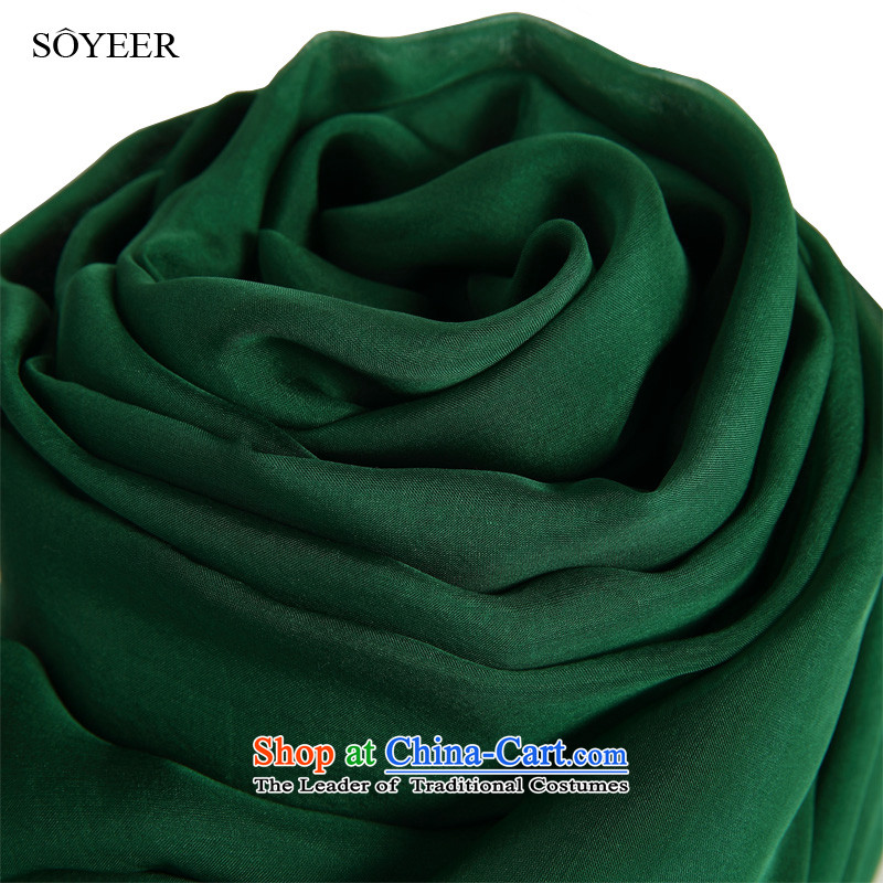The spring and autumn of the Jurchen people silk scarves SOYEER long dark green herbs extract silk scarf solid color silk scarf silk shawls dark green250*130cm sunscreen