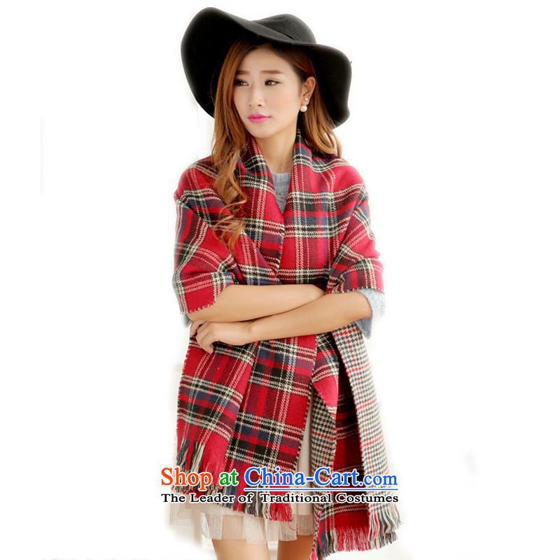 Touch聽CM 2014 autumn and winter new Korean emulation cashmere duplex chidori latticed thick warm Fancy Scarf female red checkered