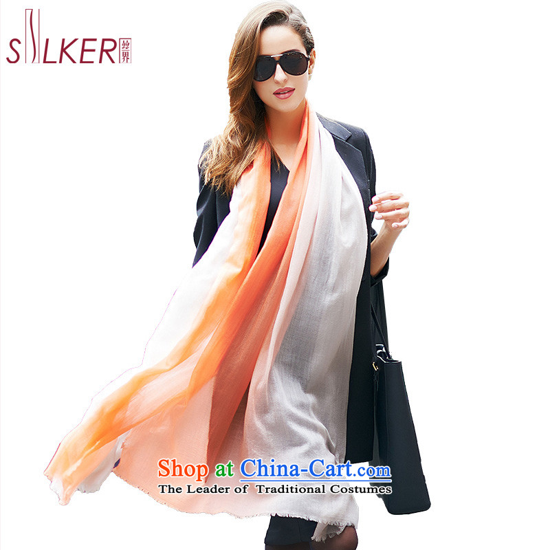 The population sector SIGI300 pure cashmere yarn scarves support high gradient color of rings lint-free shawl wild gift silk scarf dual color shade D white orange
