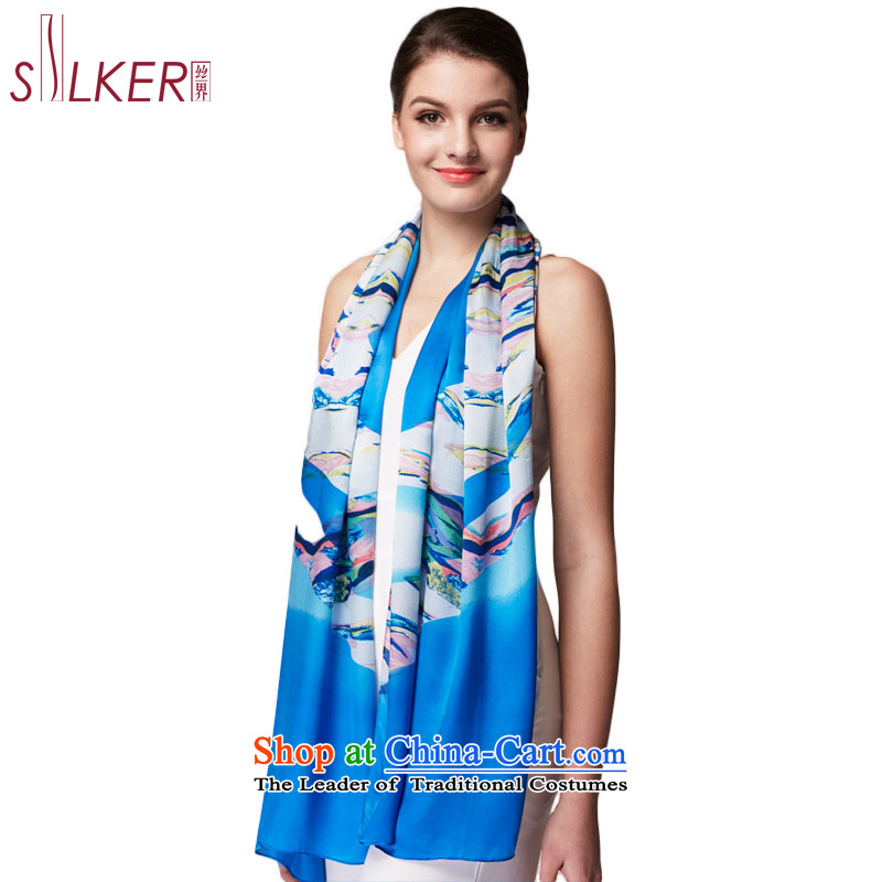Sigi's upscale Ms. Sadik silk scarves satin stamp air-conditioning shawl 100 herbs extract spring and autumn clouds scarf blue stylish new