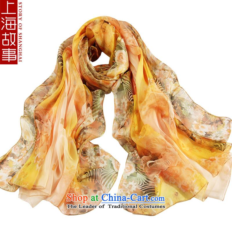 Shanghai Story emulation silk scarves, scarf female cycling is sunscreen shawl masks in beach towel el m floral yellow-hi as