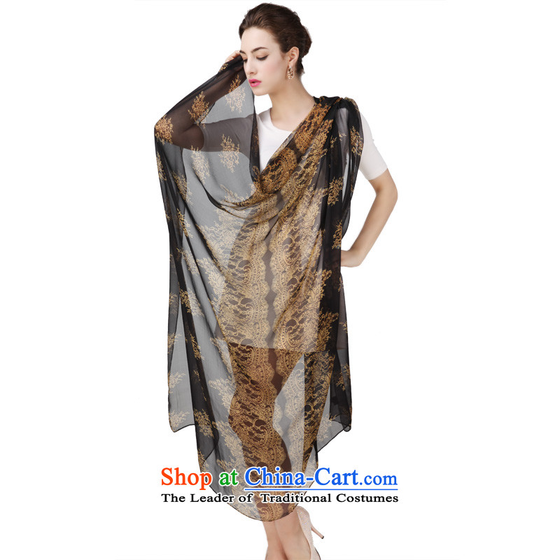 Shanghai Story new herbs extract silk scarves autumn and winter and classy towel 135cm silk-royal classic black