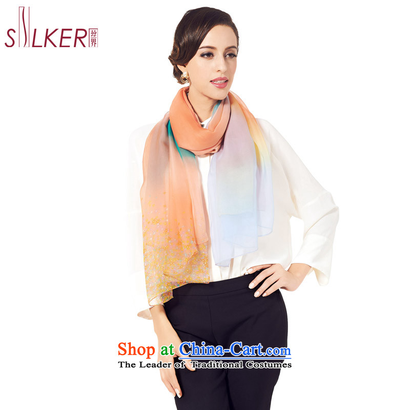 The population sector SIGI herbs extract long silk scarf of solid color gradient color plane collision and stylish air-conditioning shawl scarf stunning star D Pink
