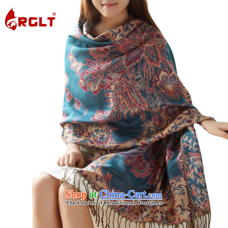 Rglt genuine2015 Spring_Summer new jacquard ethnic and stylish ultra-long warm shawl scarves with two female autumn - Blue _Gold_