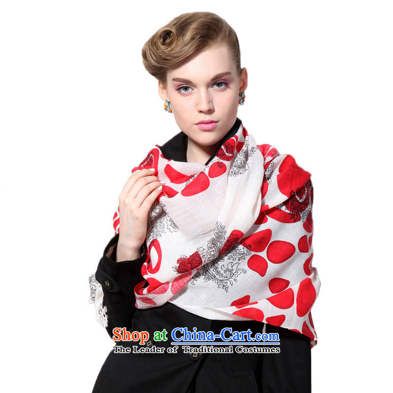 Hengyuan Cheung wool Ms. stamp long scarf gifts (Boxset) White Red White Red