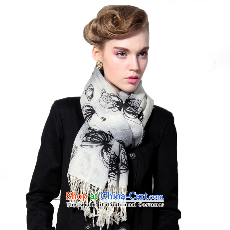 Hengyuan Cheung wool Ms. stamp long scarf gifts _Boxset_ Butterfly grizzled gray butterfly grizzled Gray
