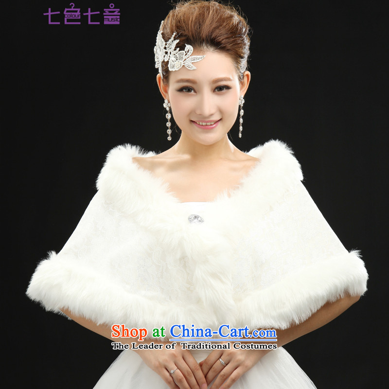 7 7 color tone 2015 new bride gross shawl dress shawl thick white bride shawl wedding of autumn and winter PJ005 white are code