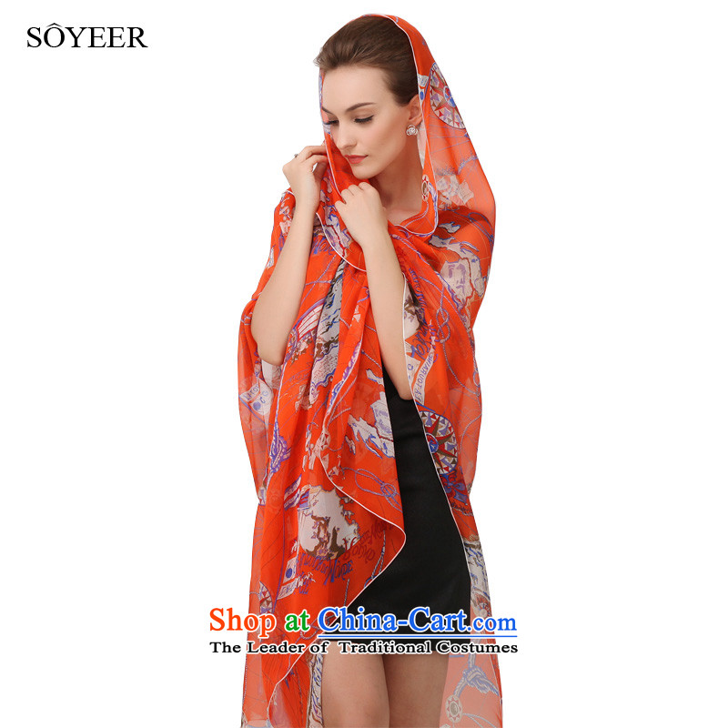 Upscale SOYEER silk scarves orange silk scarf women dos Santos map spring and autumn long silk scarf silk shawls recommended size 200_130cm