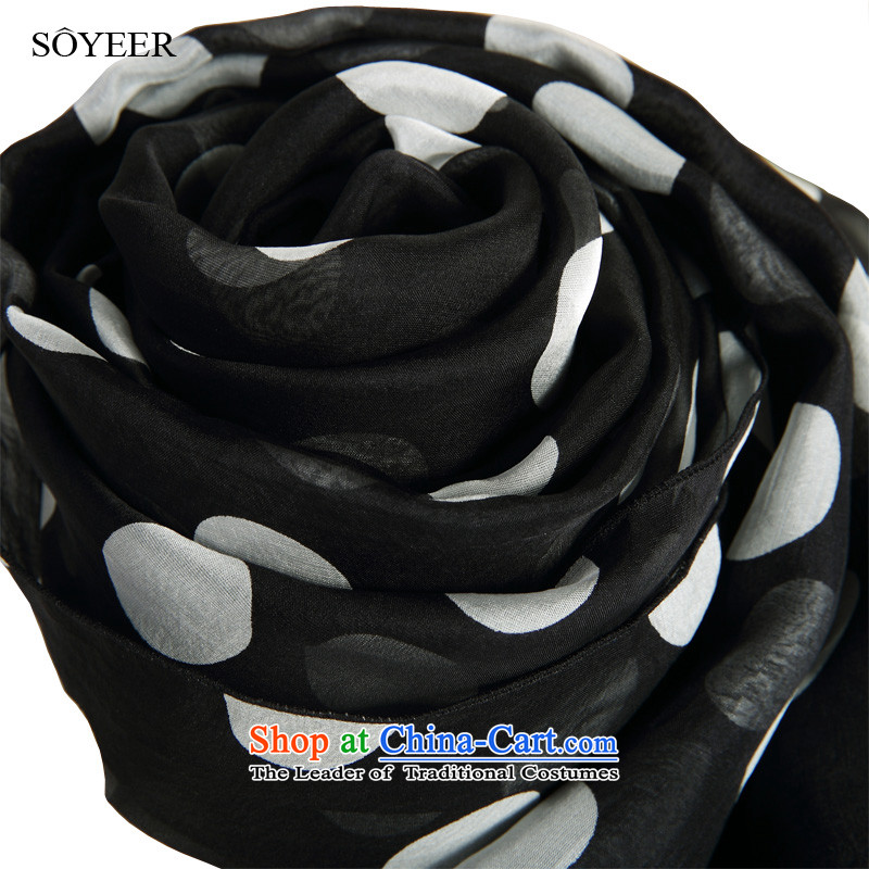 In spring and autumn SOYEER wild silk scarfs black large wave point herbs extract silk scarf female long silk scarf silk shawls 200*65cm standard