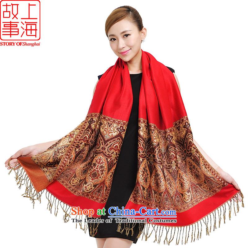 Shanghai Story Shanghai retro shawl cotton linen scarf warm and stylish gift box 157027 177026 Red