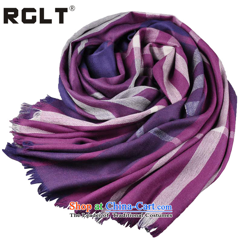 The Korean version of the autumn and winter RGLT wool yarn-dyed fabric, Ms. long warm Fancy Scarf will love - Violet