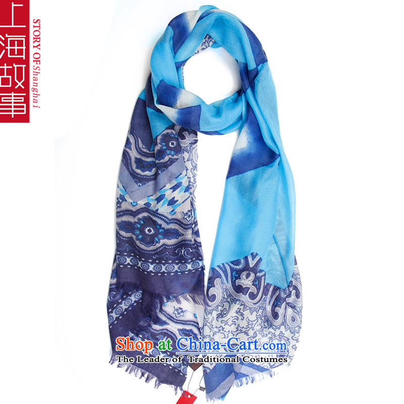 Shanghai Story pure Cashmere scarf, autumn and winter shawl a foreign domain, Color Blue