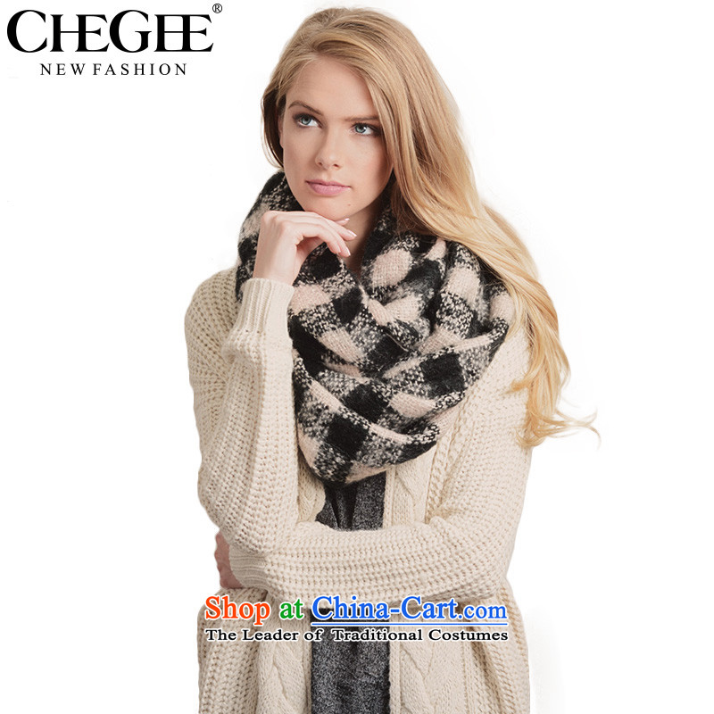 Chegeeautumn and winter warm classic black and white checkered history of Mohair Korean version of history and a couple of Grid