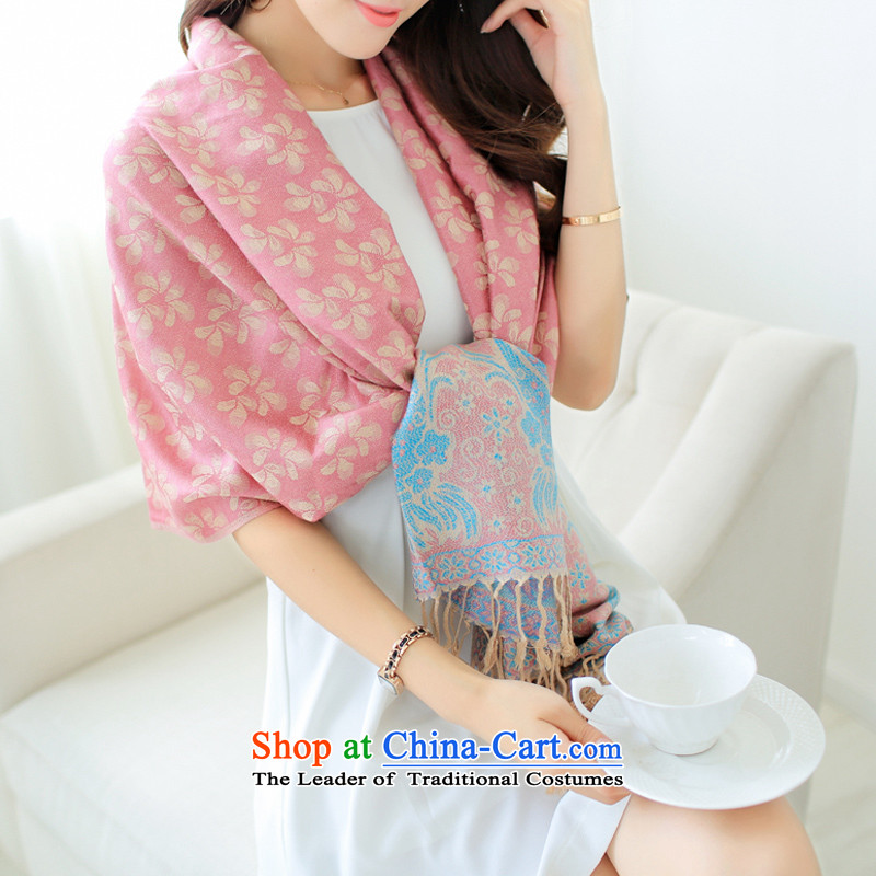 The World Card 2015 HIV new Korean Air-conditioning shawl female autumn and winter extra large ethnic jacquard edging thick warm long summer anti-air-conditioned scarves shawl two flour blue