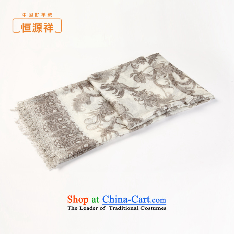 Hengyuan Cheung wooler scarf female autumn and winter new products - 70,000fine wool-stamp Fancy Scarf dual-use silk scarf coffee stamp