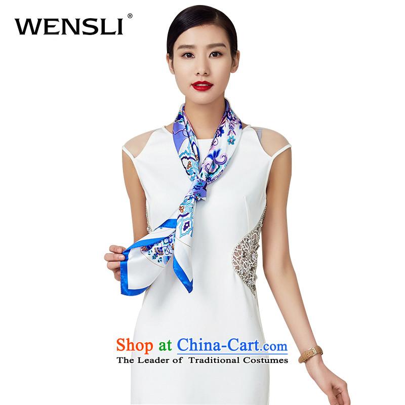 Wensli silk scarf classic herbs extract silk scarf and classy female gift silk scarf porcelain herbs extract and classy towel scarves ywca Yuk-painting flowers90*90cm dim