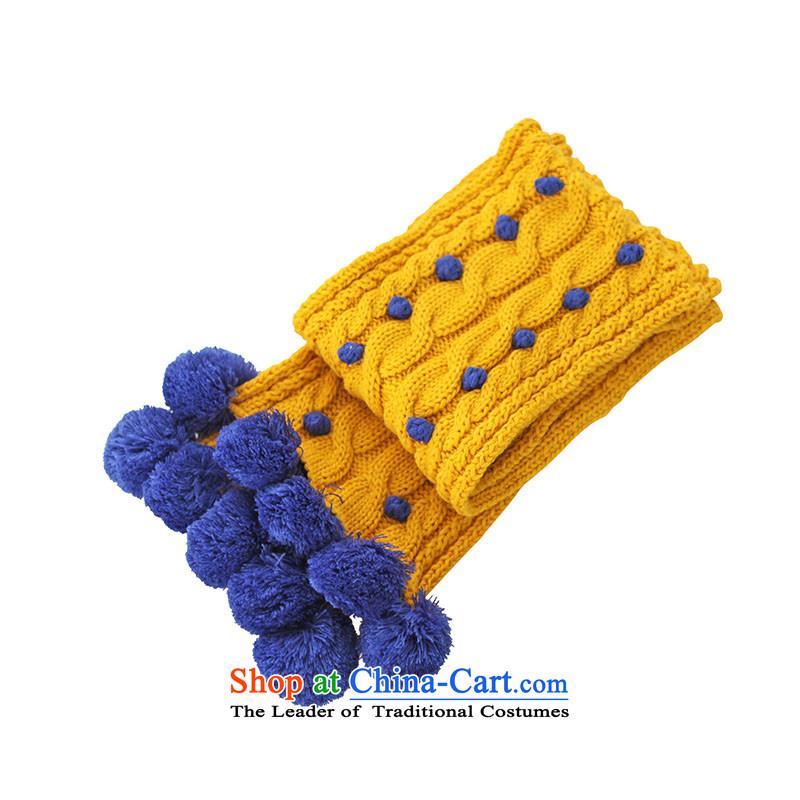 Pink sheep hot Knitting scarves, autumn and winter Yangmei ball mustard yellow200*18cm
