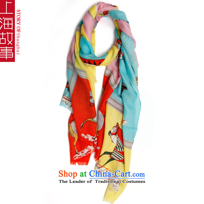 Shanghai Story Pure Wool scarves, autumn and winter shawl a horse blue and yellow