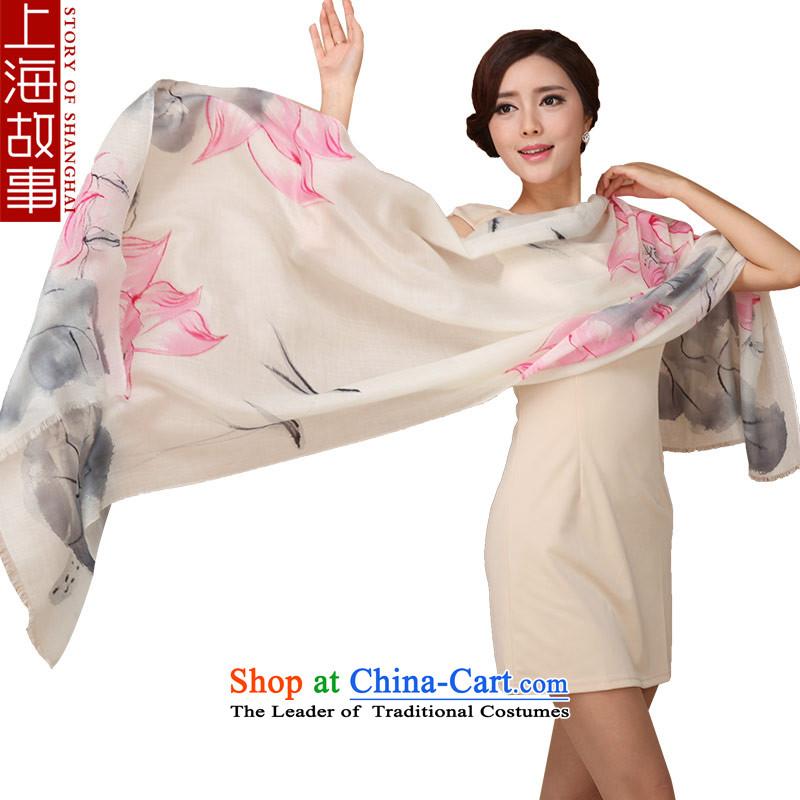 Shanghai Story scarf female autumn and winter pashmina shawl dual-use increased size rings polester velvet lotus garden