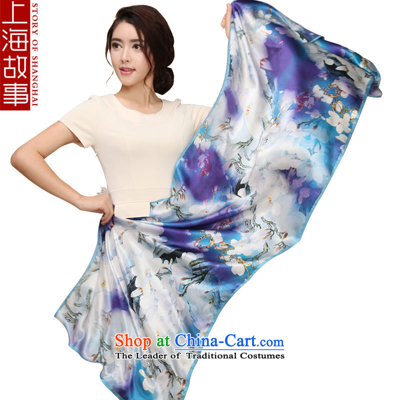 Shanghai Story silk scarves, herbs extract scarves silk shawls long poster stamp Jie Magnolia
