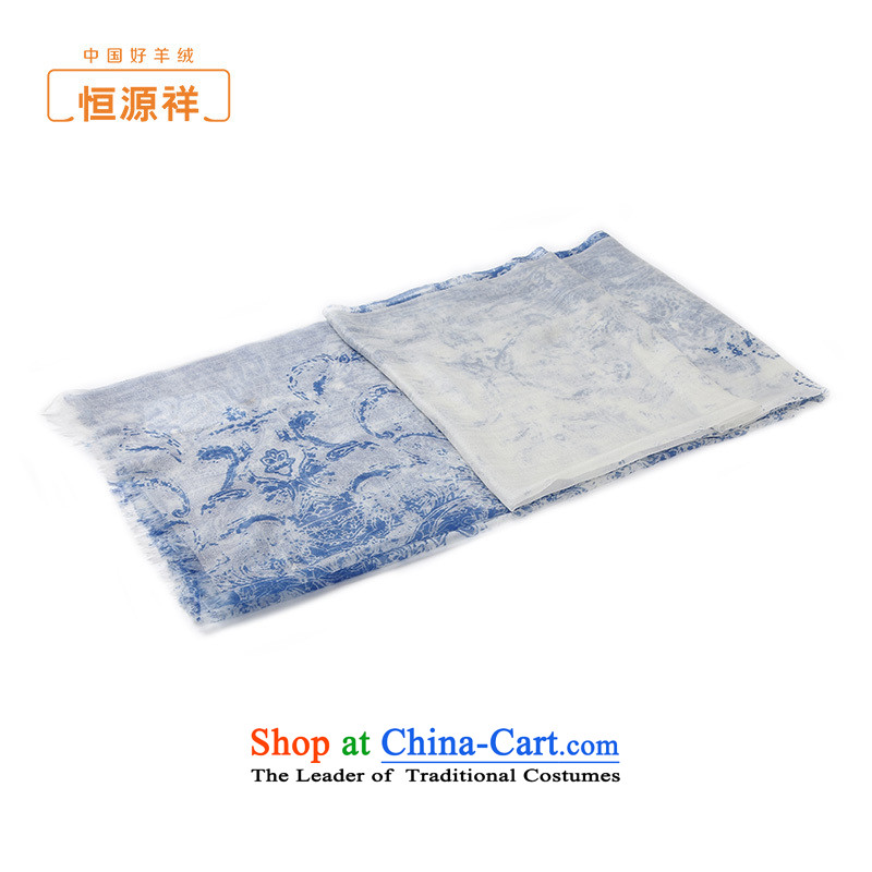 Hengyuan Cheung pashmina summer anti-air-conditioning pure Cashmere scarf plain stamp scarf female Royal Blue
