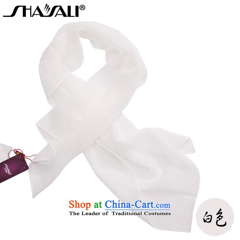 Sha Ri sauna silk scarf solid color silk scarves female long small towel White