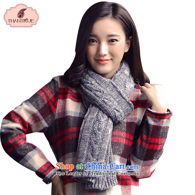 Enjoy a Korean version of true thantrue couples scarf autumn and winter long knitting, knitting a warm color puzzle Ms. W164 folder to spend a light gray