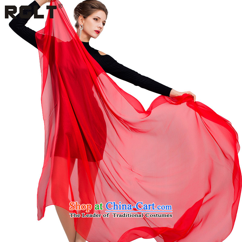 Rui, (RGLT) silk scarves President Dos Santos silk solid color autumn and winter stylish new Wild long Fancy Scarf two cloud - the red