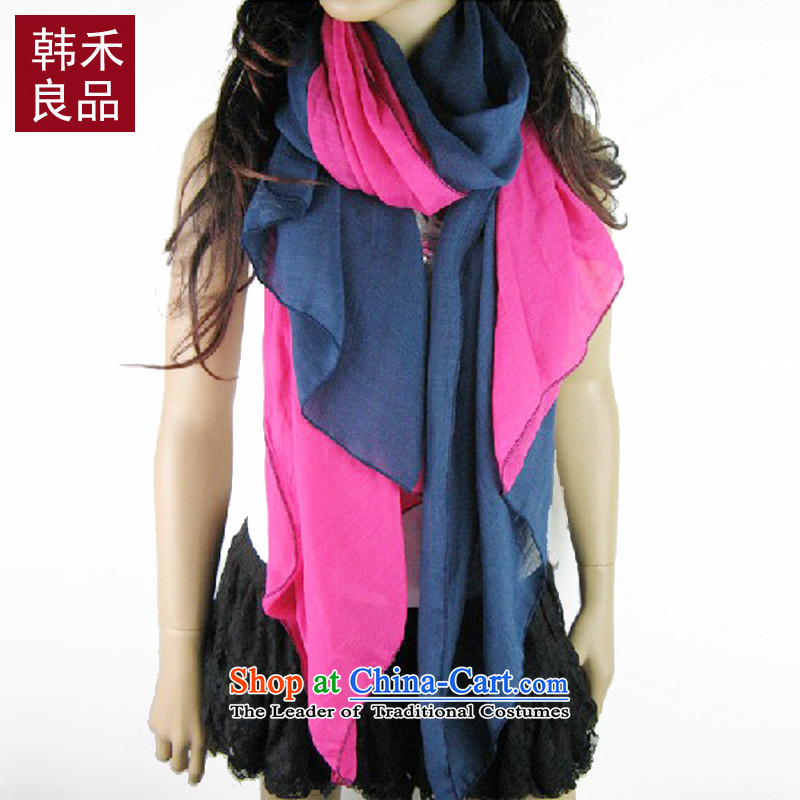 Korea wo pure color two-color gradient cotton linen scarf fall new stylish women cape silk scarf 185*100 Navy Blue + the red