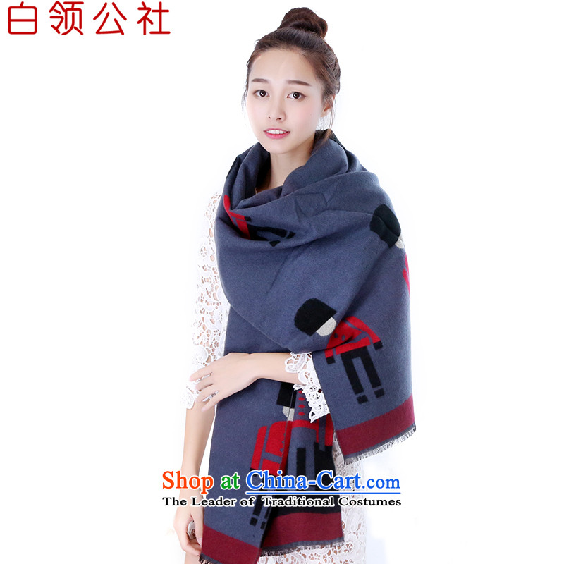 White-collar corporation scarf of autumn and winter days Ms. female Korean Cashmere scarf warm color spell small two-sided oversized Fancy Scarf Ms.4313 190_65 DD37 blue scarf