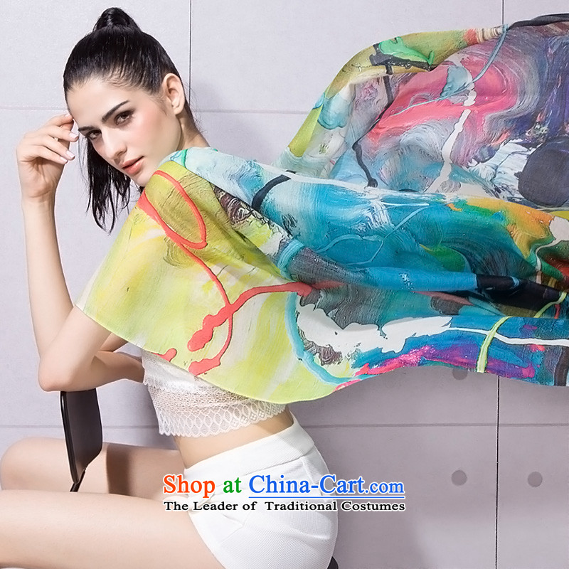 Poetry INA 200 Pure Wool winter scarf female digital inkjet shawl Western art color high-end