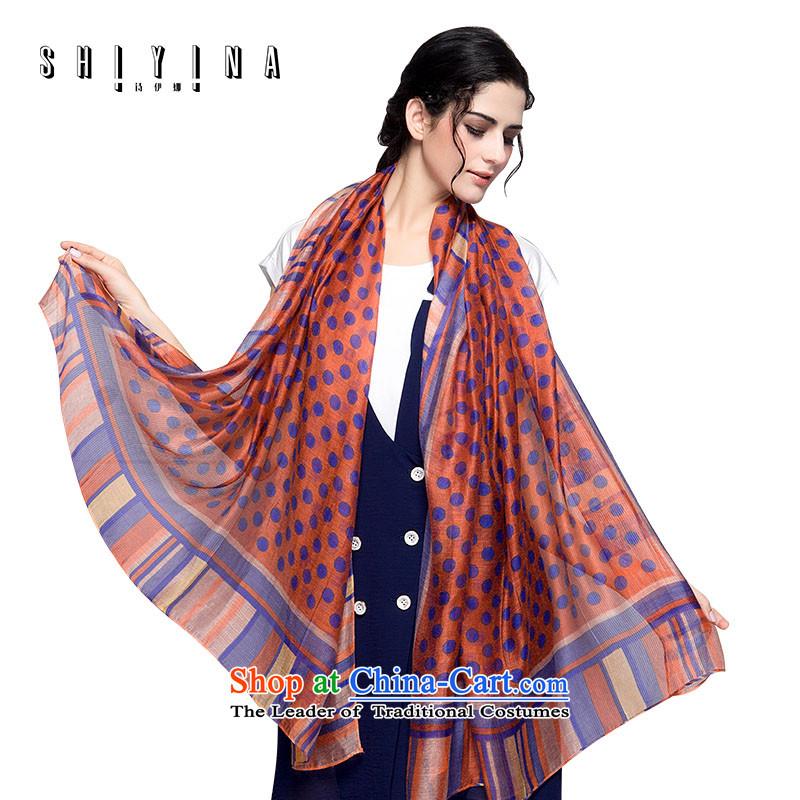 The Korean version of Ms Ina silk scarfs female winter silk scarf herbs extract wild dot wave point a shawl warm orange