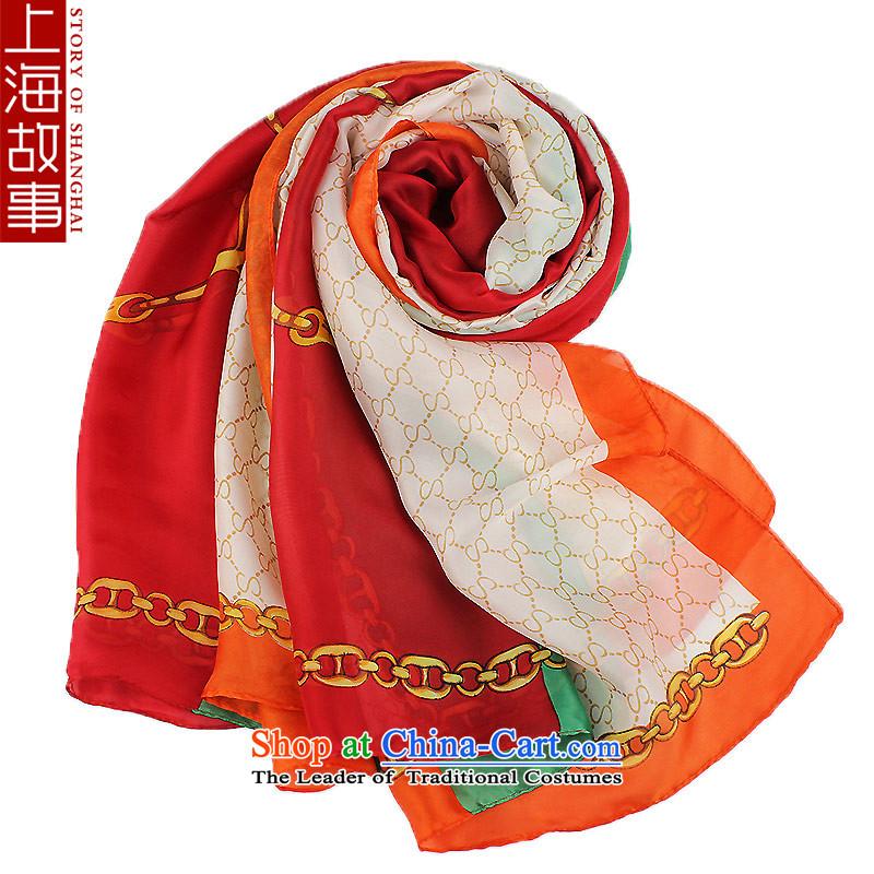 Shanghai Story silk scarf silk scarves, long wild scarf female shawl Yingko Yanwu orange edge