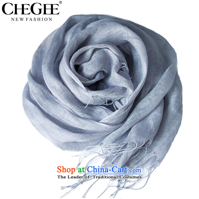 The autumn and winter linen CHEGEE anthology edging scarf pure color thin, sunshades sunscreen cotton linen beach scarf arts wind and light gray