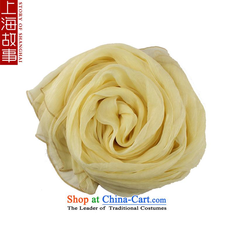 Shanghai Story silk scarf emulation silk scarves Ms. chiffon solid color silk scarf scarf female sunscreen shawl masks in light yellow