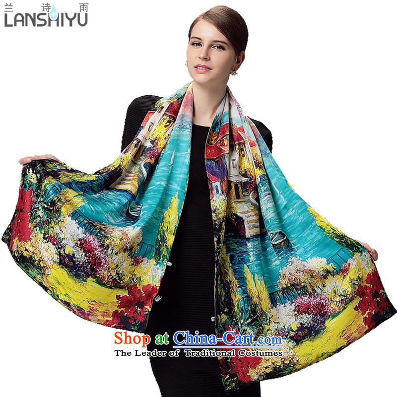 Lan duplex silk scarf rain poetry, silk shawls buckle winter double scarf LSY2100853 Gangnam Town