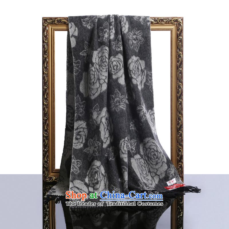 Hengyuan Cheung wool thick increase long shawl air-conditioning shawl Roses (Boxset) Gray