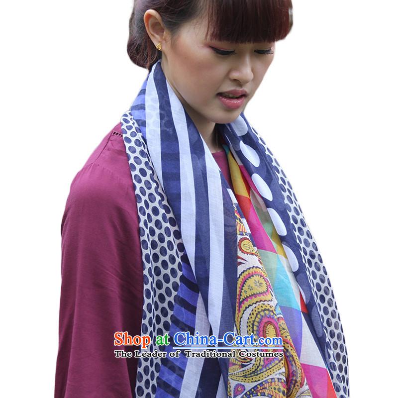 The new trendy CHEGEE silk scarf autumn), Ms. Korean long silk scarf retro geometric totem wave point Fancy Scarf Blue