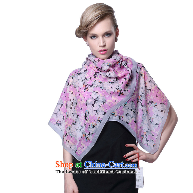 Hengyuan Cheung stamp wool silk scarves thin Ms. second group silk scarf (Boxset) yamage dancing gray Purple
