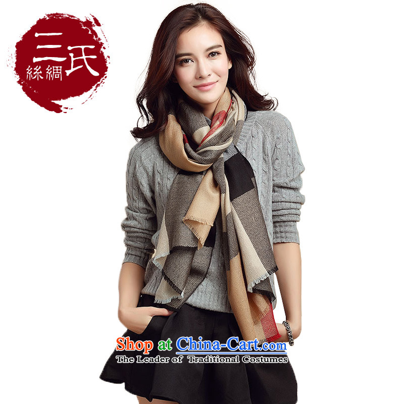 3 _new classic wool Ms. Plaid scarf scarf autumn and winter warm modern wool men and women Fancy Scarf of dual-use and large wire