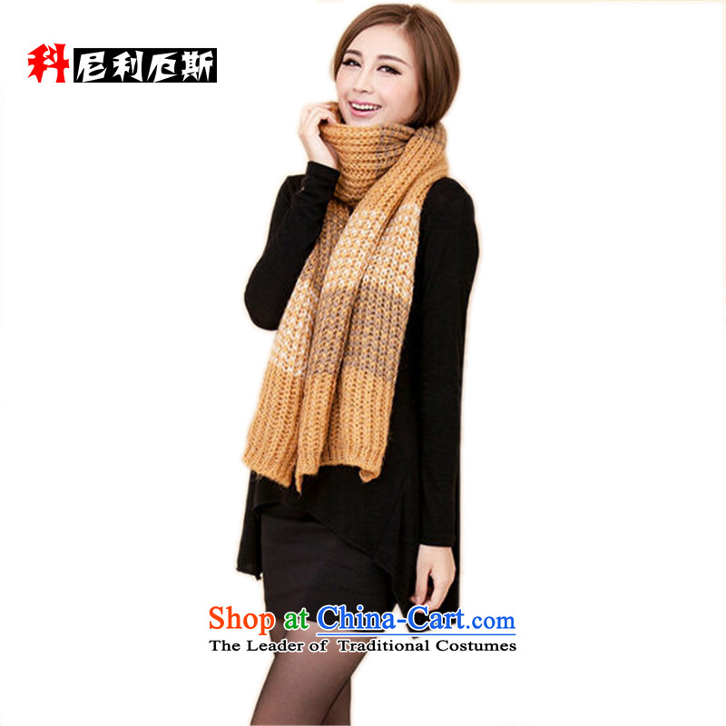 Cornelius Korean autumn and winter scarf knocked color grid shawl ultra long female thick edges beige